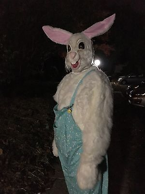 Super Creepy Scary Vintage Easter Bunny Rabbit Adult Halloween Costume & Mask