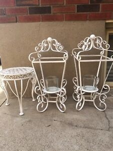 Outdoor Decorative Candelabras and Table
