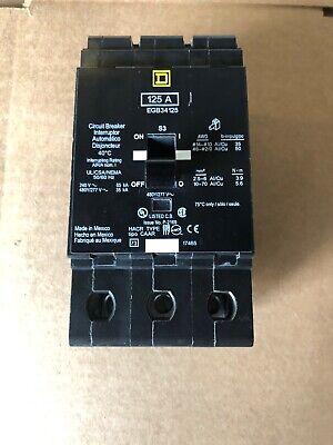 Square D Egb34125 3 Pole 125 Amp 480 Vac Circuit Breakeregb New No Box