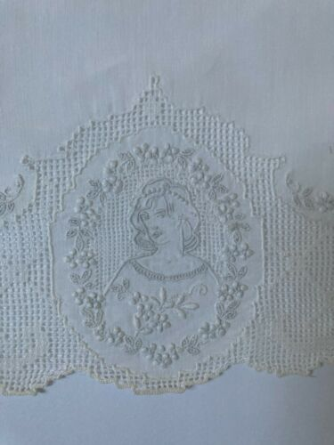 Antique Appenzel Embroidery Lady in Cameo Fine Linen Placemat Set Swiss RARE