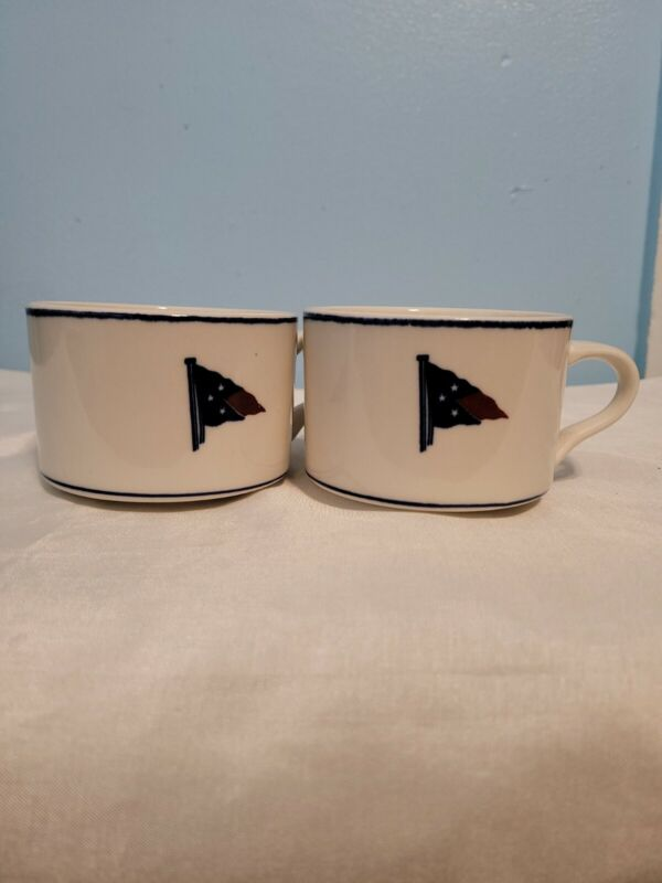 VINTAGE EDGARTOWN YACTH CLUB COFFEE CUP WITH LOGO SET OF 2