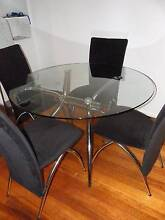Glass // Chrome Dining Table and Chairs Ormond Glen Eira Area Preview