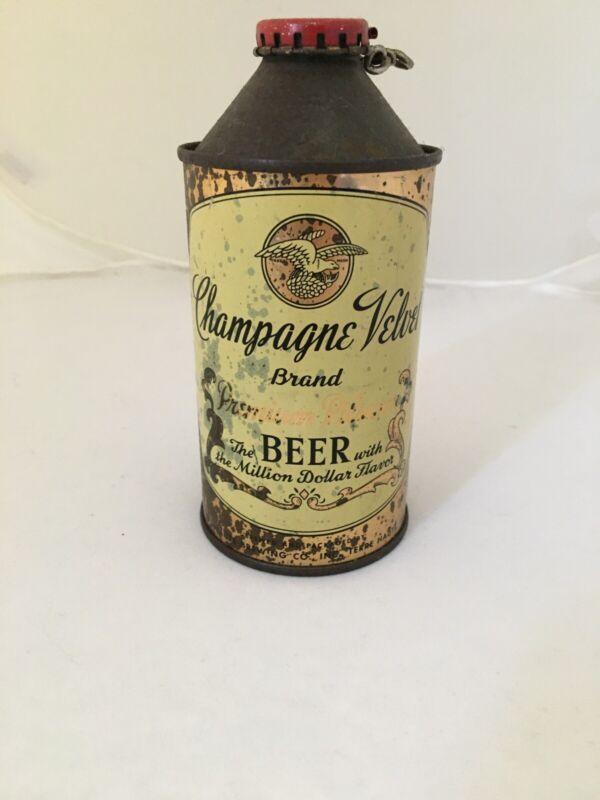 Champagne Velvet Premium Pilsner Beer  Cone Top Beer Can Vintage