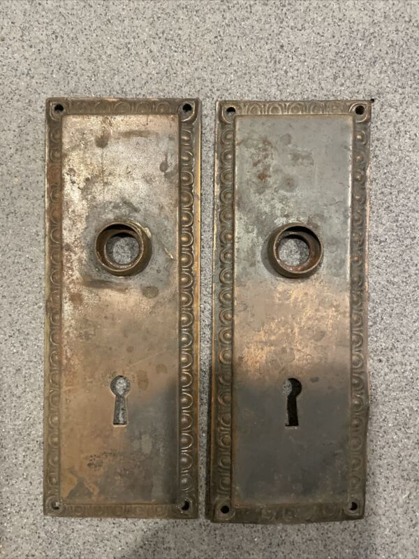 🏅PAIR Antique/Vintage Door Back Plates, Backplates, Escutcheon, Brass, Ornate