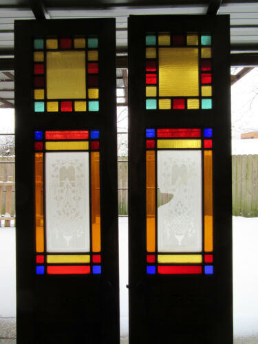 ~ ANTIQUE OAK STAINED GLASS DOUBLE ENTRANCE FRENCH DOORS ~ 52 x 103 ~ SALVAGE ~