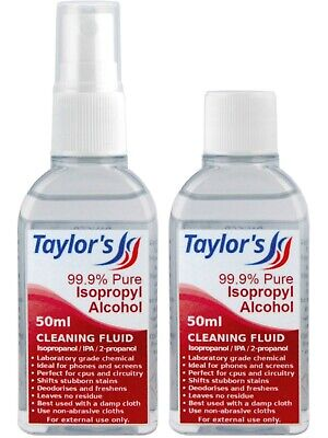 Taylor's 50ml Isopropyl Alcohol (99.9% Isopropanol) IPA Phone Screen Cleaner