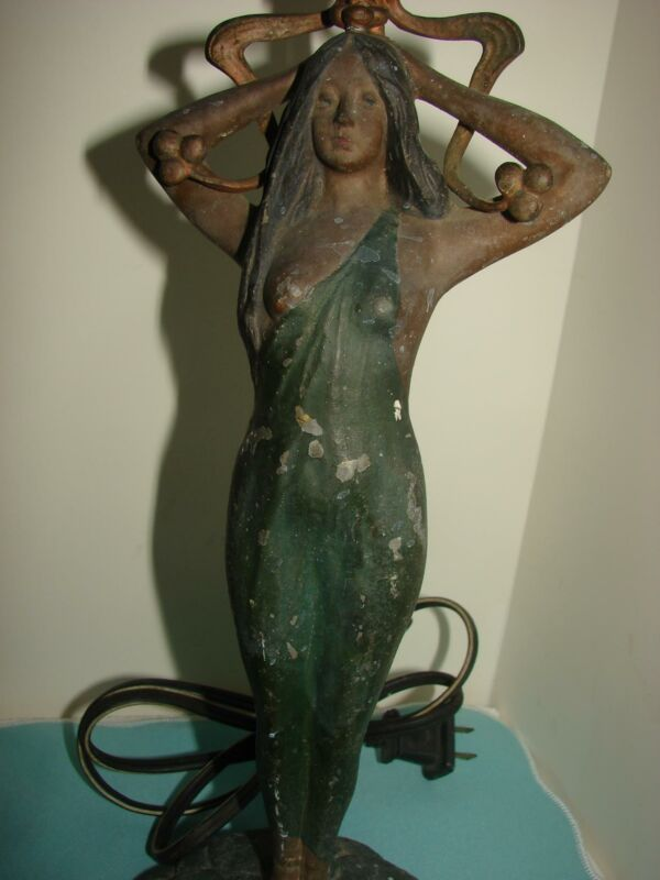 Antique Tall Art Nouveau Painted Lady On Lily Pads Lamp Base Works