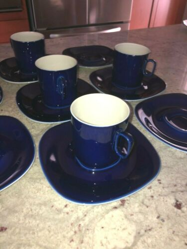 Lot BLOCK LANGENTHAL Switzerland Transition Cobalt Blue Cups and Saucers