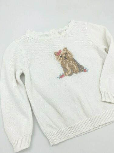 Janie And Jack Long Sleeve Pullover Sweater Yorkie Puppy Embroidery Ivory 18-24M