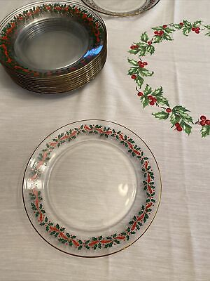 12 Libby Holly and Ivy glass dessert plates
