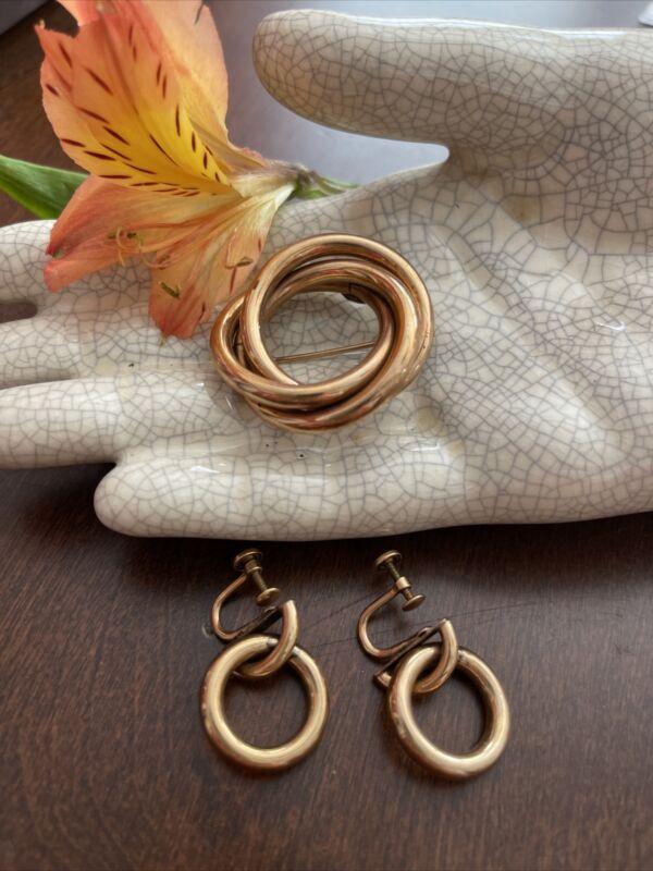 Vintage Victorian GOLD FILLED BROOCH EARRINGS SET 22.9 Grams LOVERS KNOT