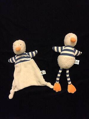 Jellycat Bredita Duck Blanket Chime Blue Comforter Soother Stripe Plush Doudou
