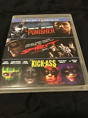 The Punisher The Spirit Kick Ass  Blu Ray Disc  2014  Very Good  No Digital Hd