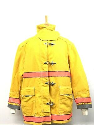 Used Globe Firefighters Suits Turnout Jacket Size 48x35 Fire Rescue Yellow 013-