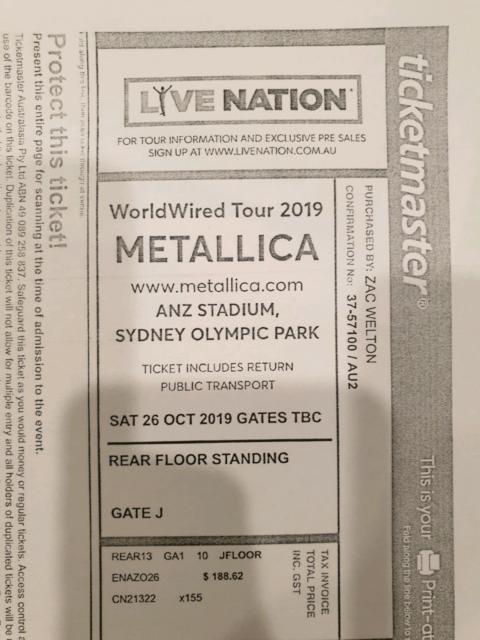2x Metallica tickets, feat Slipknot Sydney | Concerts | Gumtree