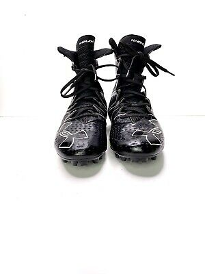 Men UNDER ARMOUR High Top Football Black Cleats SZ 9 Great Condition!