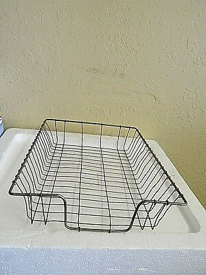 Vintage Wire Metal Desk Basket Paper Tray In Out Files Letter