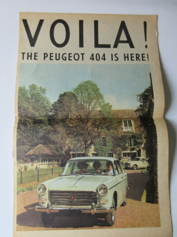 1961 Peugeot Viola! The 404 is Here Newspaper Style Sales Brochure