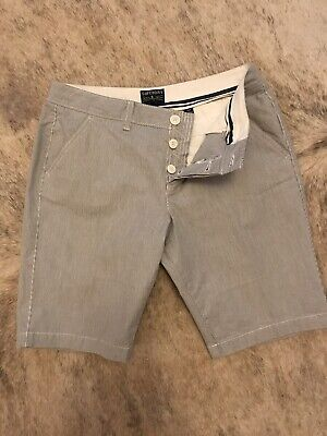 Superdry Shorts Pin Stripe Blue White Button Fly