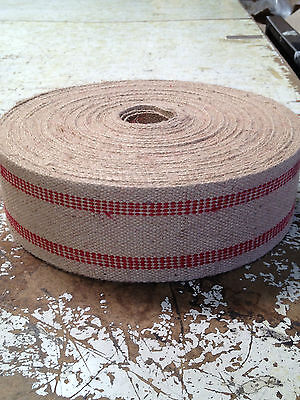 3 1/2 inch Wide Jute Webbing Red Stripe 11 Pound Upholstery Supplies