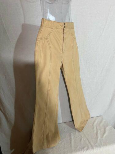 Vtg 80s High Waist Pants Bell Bottoms Beige Wide Hips Style Retro Hem Out 29-32