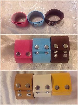 "Lot 10 Leather Wide Cuff Bracelets/Wristbands-Craft-Design Jewelry-Adjusts 7""-8"""