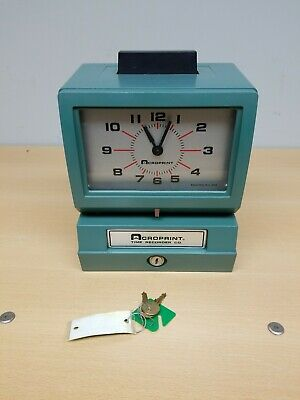 Acroprint 125nr4 Punch Clock Time Recorder With Keys Good Condition Working
