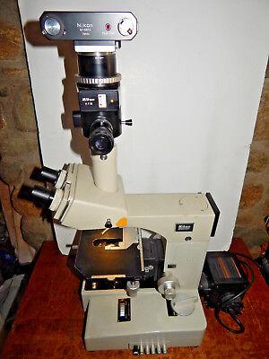 Nikon Biophot Trinocular Microscope Whfm M-35fa Camera No Objectives