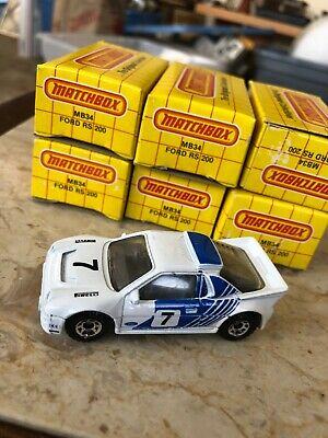 (lot Of 6) Matchbox MB34 Ford RS200 1986 White NOS