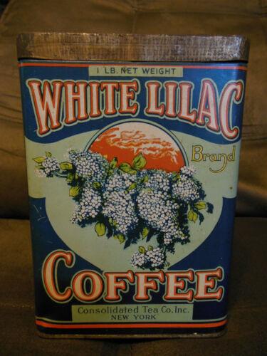 Vintage White Lilac Coffee Tin