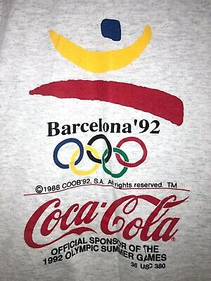 Vintage Coca Cola T-Shirt Mens L Gray 1992 Barcelona Olympics Dream Team 90s