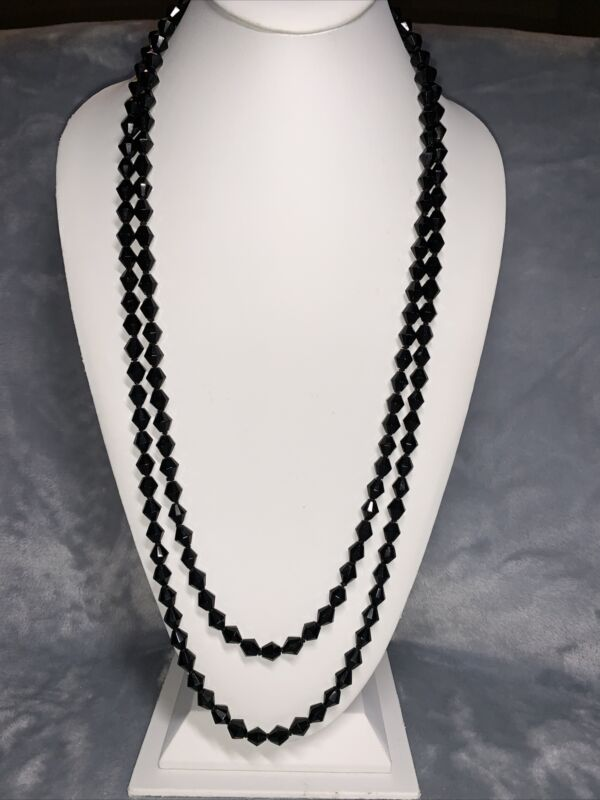 """Unbranded 62"""" Long Vintage Black Glass Individually Tied Bead Necklace  #4712"""