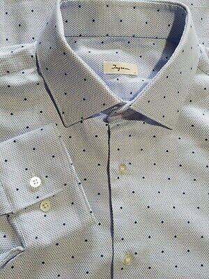 Ingram Italian Light-Blue Dotted Pattern Cotton Shirt Sz 16.5 Party Preppy Dress Cotton Dotted Pattern Dress Shirt