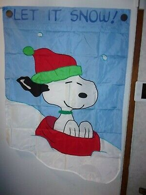 """Vintage Snoopy Let It Snow! Snoopy Appliqued 2 sided 28"""" x 40"""" House Flag"""