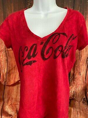 COCA-COLA Red V-Neck Ladies' Cotton Size XL T-Shirt