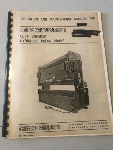 Cincinnati Cost Breaker Hydraulic Press Brake Operation and Maint. Manual # 2000