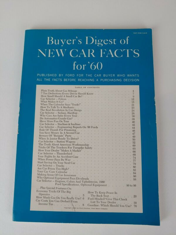 Vtg Ford Buyers Digest of New Car Facts 1960 Automobiles