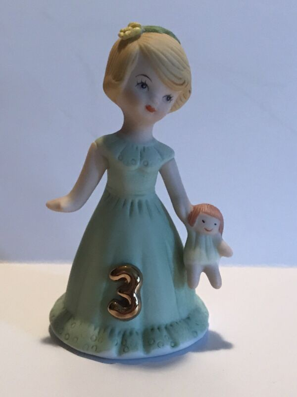 Enesco Birthday Growing Up Girls 3 Year Old  Figurine 1982