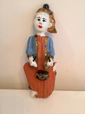 Vintage Thai Thailand Wood Craved Drummer Sculpture Painted Figure Wall Hanging