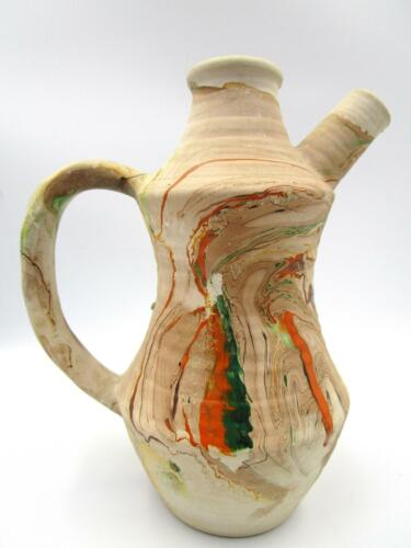 NEMADJI POTTERY PITCHER VASE EWER Ribbed Surface Multi Colored Marked 7.25 in.
