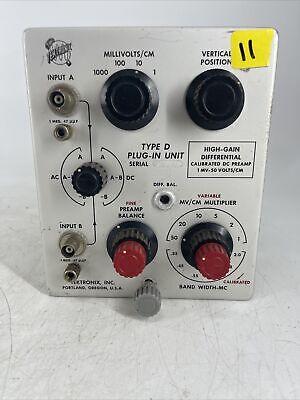 Tektronix Type D Oscilloscope Plug In Unit High Gain Diff Pre-amp