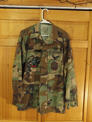 US Airforce M81 Woodland Camo BDU Uniform Field Jacket, Size medium X-Long