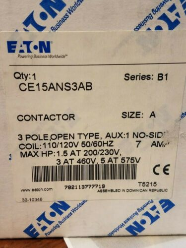 NEW IN BOX Eaton / Cutler Hammer CE15ANS3AB Contactor Size A T10 SHIPS FREE
