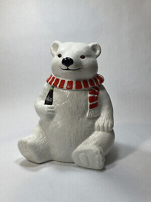 Coca Cola 1994 Vintage Polar Bear Coke Cookie Jar Scarf Ceramic Christmas