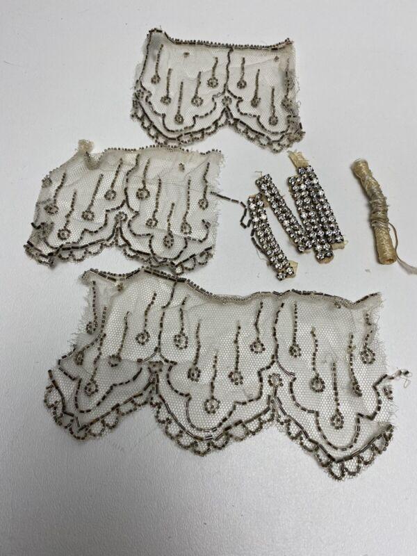 Antique Edwardian Beaded Lace Trim, Vintage Rhinestones & Antique Thread Scraps