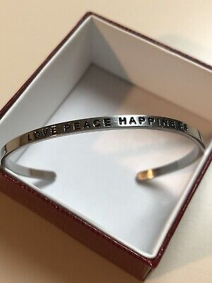 """New MantraBand """"LOVE PEACE HAPPINESS"""" Adjustable Cuff Bracelet in Silver Size -"""