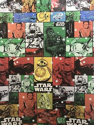 Disney STAR WARS Colorful Collage Christmas Gift Wrapping Paper 70 sq ft - Star Wars Wrapping Paper