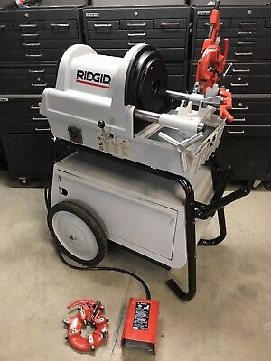 Ridgid 1822 Auto Pipe Threader Rolling Cart Two Die Heads 1224300700 535