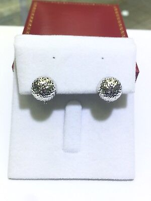 18k Solid White Gold Diamond Cut Clip Earrings. Retail $290
