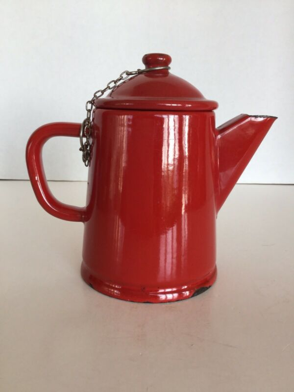 Vintage Small Red Enamelware Graniteware Coffee/Tea Pot